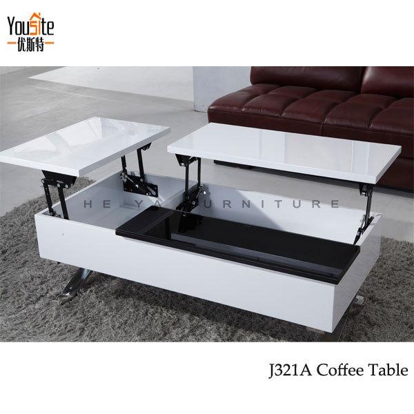 High Gloss Modern Lift Top Coffee Table Mechanism View