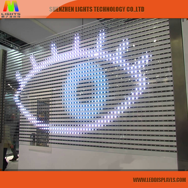 Ultra Brightness Indoor P5 Glass Wall LED Display Screen, Full Color Shop Window P5 P6 P10 Transparent LED Display for Sale