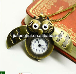 2013 New Style antique owl necklace watch pocket watch keychain watch