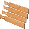 "4 Pack 17.6"" - 22"" 100% Organic Bamboo Adjustable Expendable Drawer Dividers for Kitchen Bedroom or Bedroom"