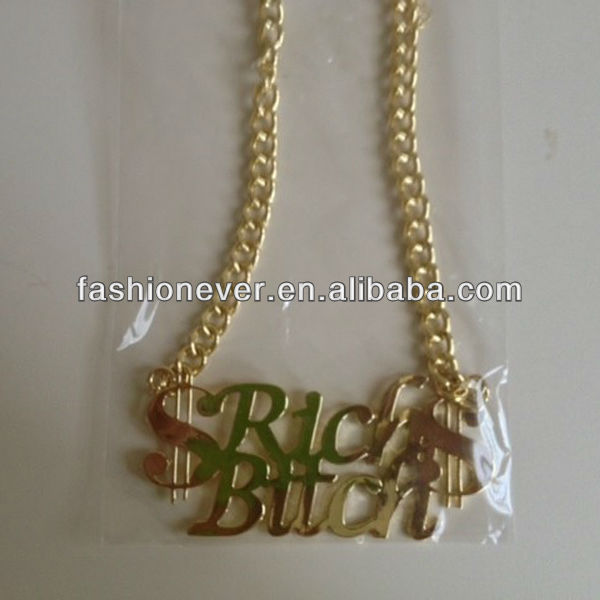 Hot Hip Hop Urban Ghetto Rich Bitch Dollar Sign Pendant Link Chain Necklace