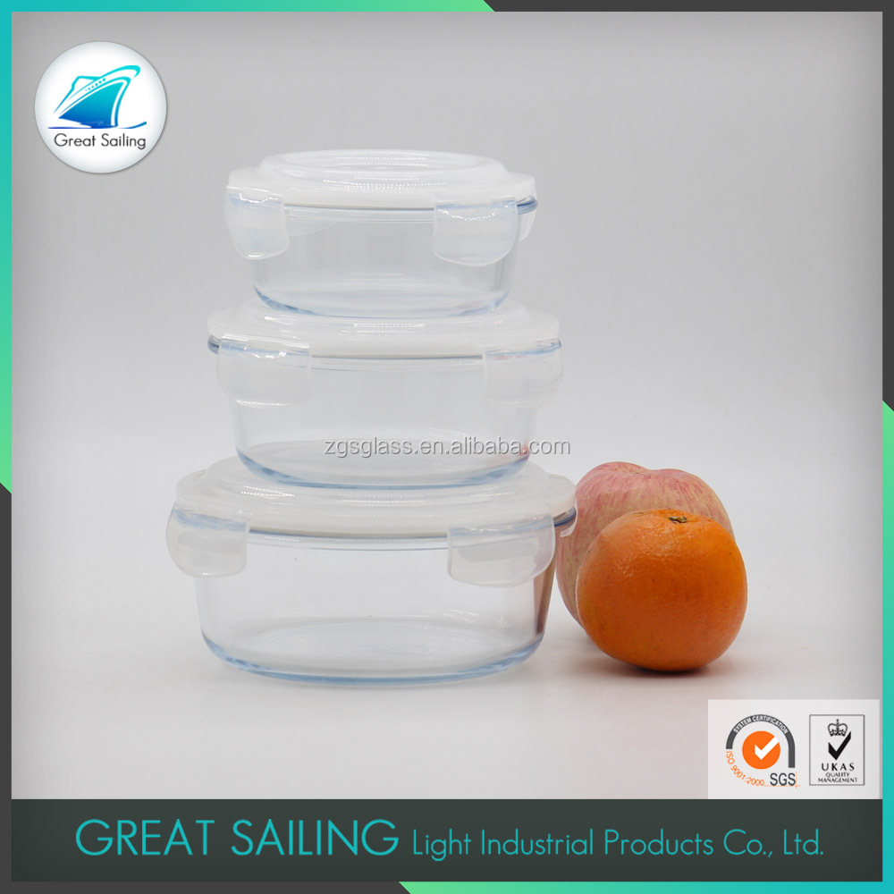 Heat resistant glass food storage containers with lid