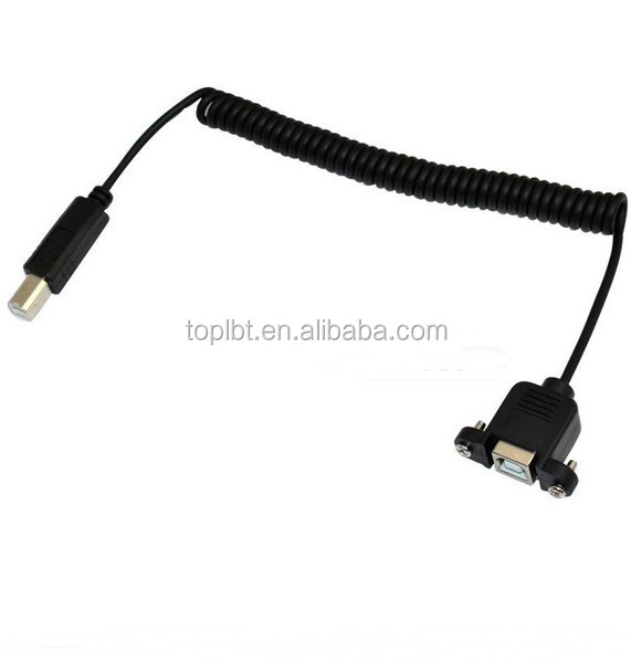 right angled USB2.0 B Male to Female Panel Mount extension printer cable,coiled USB printer cable