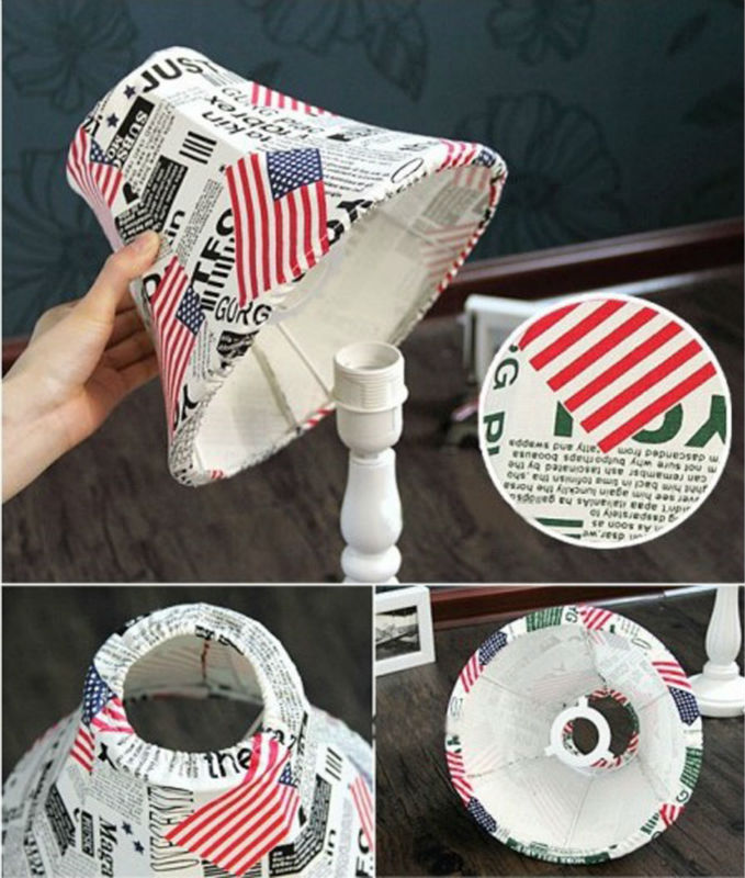 CT-456 Popular Novelty American Flag Retro Roman Column Fabric Lamp Table lamp switch light