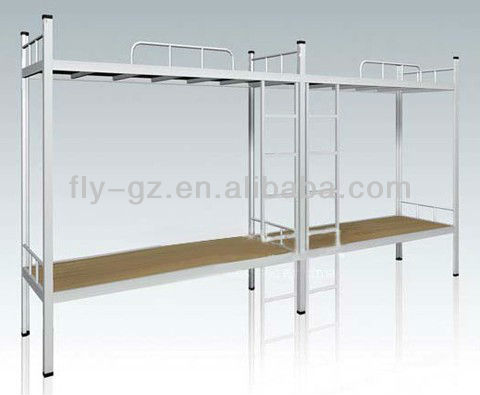 Stainless steel college dormitory furniture sets metal students bunkbeds with guard bar made in China