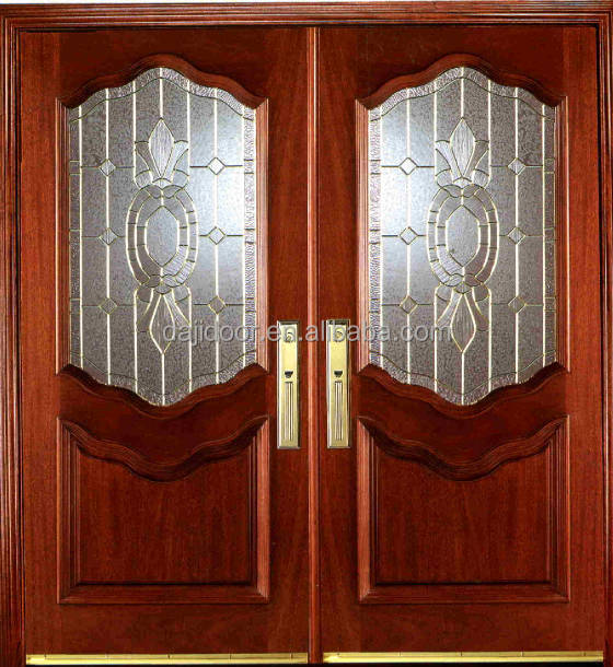 Triple Panel Glass Double Entry Doors In <strong>Wood</strong> DJ-S9176M