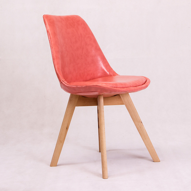 9086 Armless Patchwork Leather Fabric Emes Natural Wood Legs Eiffel For Dining Room Molded Plastic Seat Home Furniture