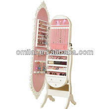 Standing decrotive jewelry armoire with full length mirror