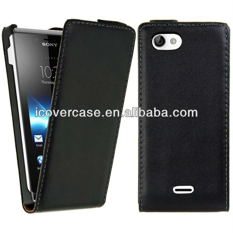 Real Leather Flip Case Mobile Protective Cover For Sony Xperia