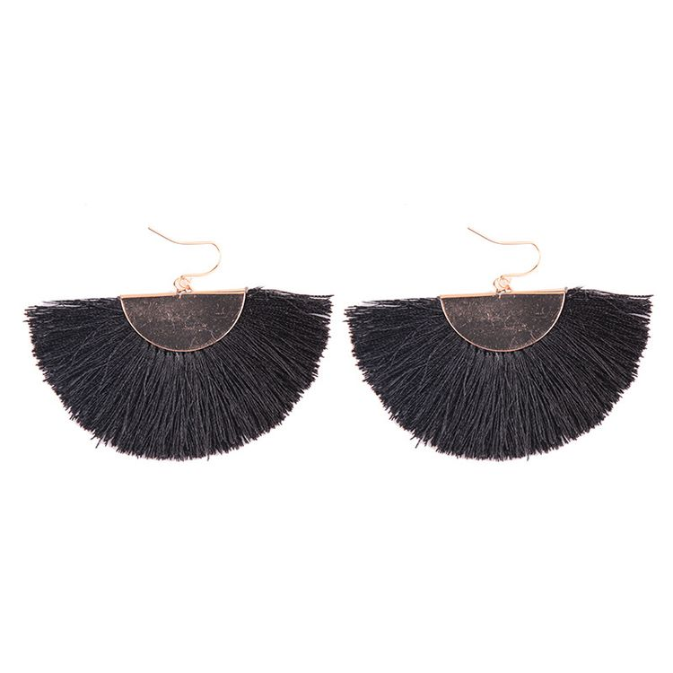 2019 Hot Selling Trendy Jewelry Simple Style Rose Red Fashion Tassel Fan Earrings