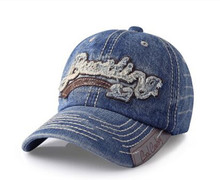 destory stone washed denim baseball cap with applique embroidery and PU or leather patch LOGO