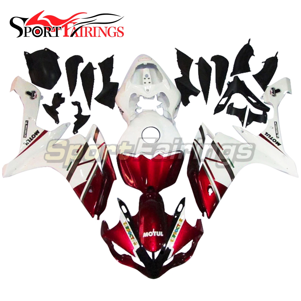 Injection Full <strong>Fairings</strong> For Yamaha YZF <strong>R1</strong> 07 <strong>08</strong> ABS Plastic Injection Motorcycle Kit FIAT Red White <strong>Fairing</strong> kit