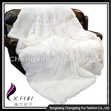 CX-D-43 Good Quality White Carpet Rex Rabbit Fur Fur Throw Blanket