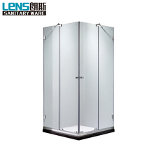 Transparent glass enduring strong hinge square shower cubicle frameless simple style square shower cubicle