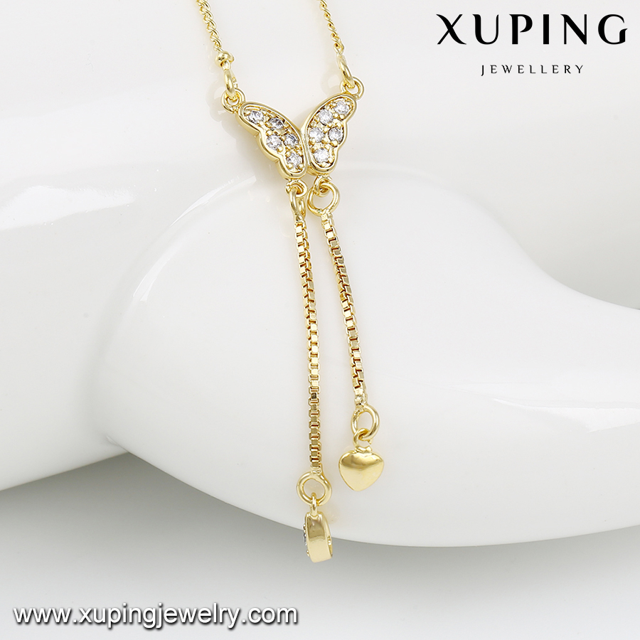 42898 xuping long diamond necklace, 14k gold color tassel wholesale new model necklace chain