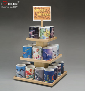 Economical Retail Shop Tabletop Wooden Flooring 4-Way 3-Tier Tea Cup Or Coffee Mug Display Rack