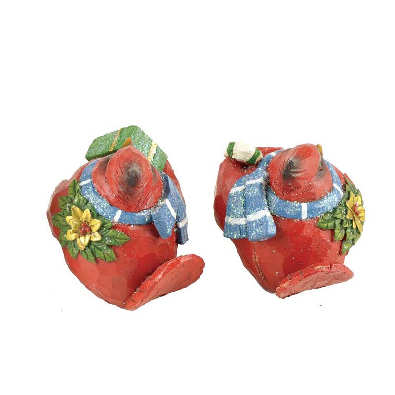 Wholesale S/2 Cardinal Birds Figurines Christmas Table Top