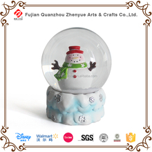 Diameter 6.5cm 10cm 8cm 12cm Glass Snow Globe,Resin Winter Snowman Glass Snow Ball,Polyresin Snowman Musical Glass Snow Globe