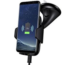 Universal mobile phone sucker stand wireless quick car charger holder for iphone samsung