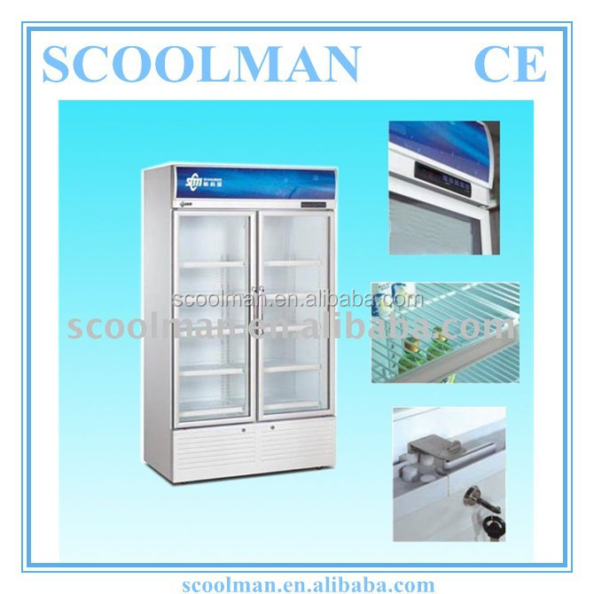 Upright 2 Doors Display Direct Cool Refrigerator