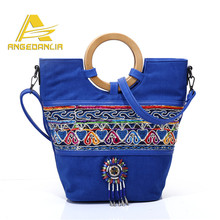 2017 Fashion Women Bag Navy Blue Handbag Tote With Wooden Handle