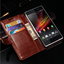 New Arrive Pouch Case With Card Slots Wallet Leather Flip Case for Sony xperia z2