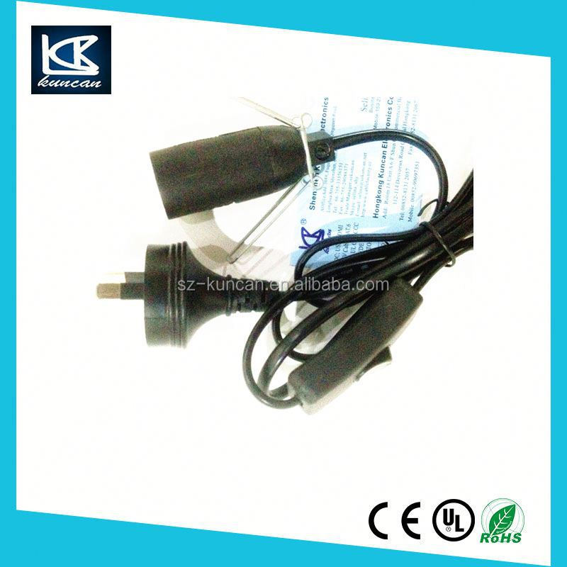 Shenzhen Factory E27 switched cable and bb holer salt lamp cord UK/EU/SAA/USAplug