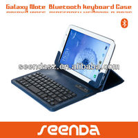 Blue bluetooth detachable keyboard with leather case for Samsung note 8 inch(CE,ROHS,FCC)