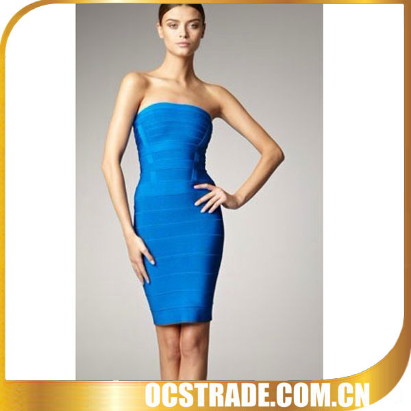 2013 sexy blue strapless casual bandage beach dress