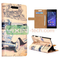 New Arrived Retro Car Pattern for Sony Xperia M2 S50h Foldable Stand Leather Case Cover