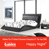 Golden Furniture New King Deluxe Italian Style PU Leather Bed Frame Black