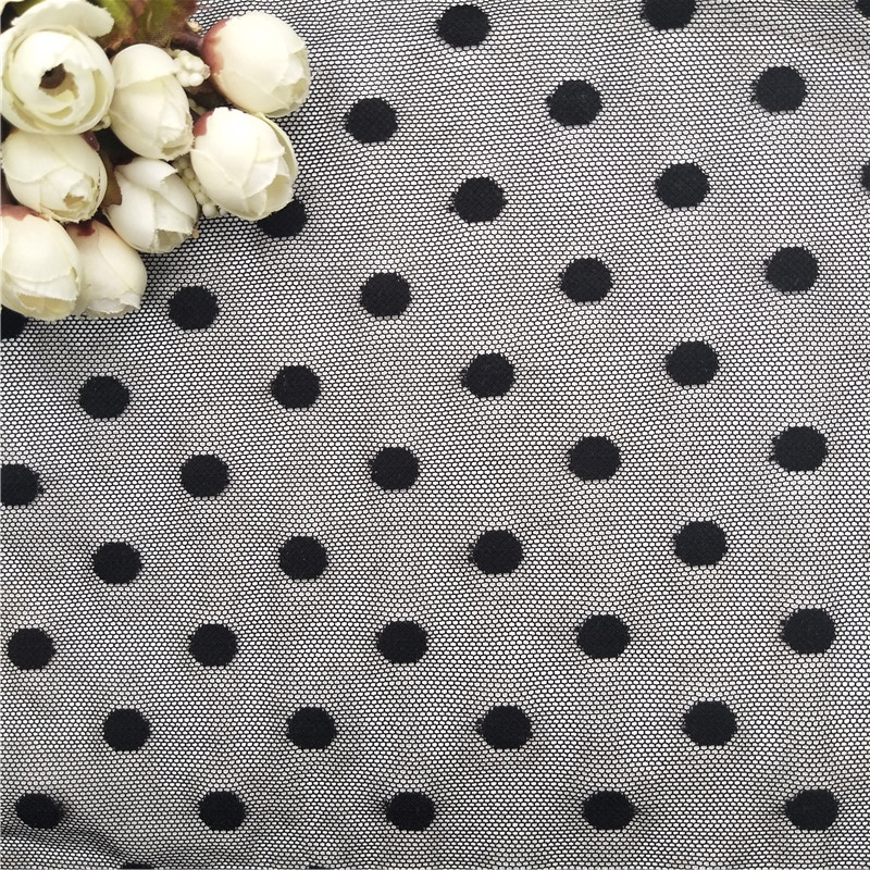 2019 black color dots stretch mesh lace fabric
