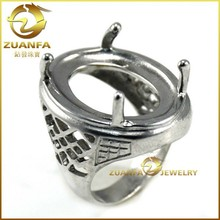 316l stainless steel large stone ring settings without stones for men