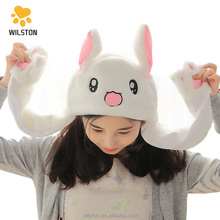 Customized Cute rabbit plush <strong>hat</strong> with moving ears