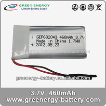 lipolymer rechargeable battery gep602043 3.7v 460mah polymer battery cell