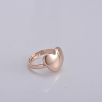 2017 new styles 18k gold base metal brass new simple heart shape design adjustable jewelry finger rings