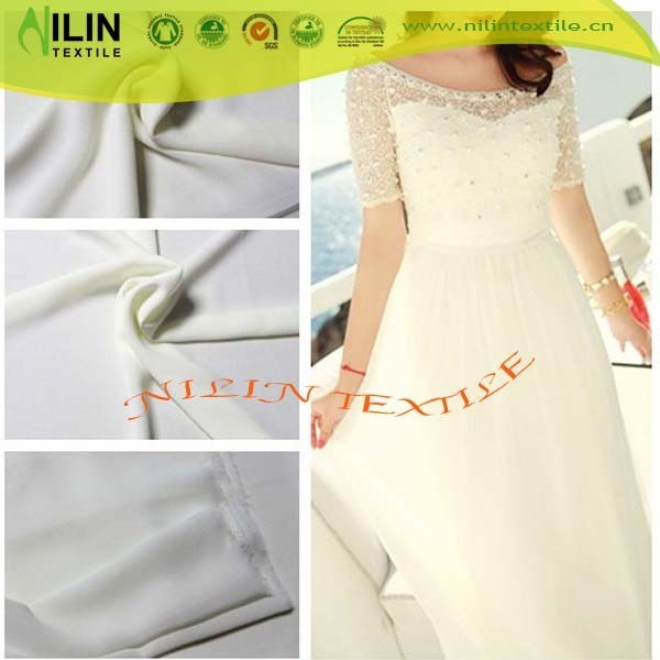 Fancy 75D plain dyed pearl chiffon fabric for lady's dress summer