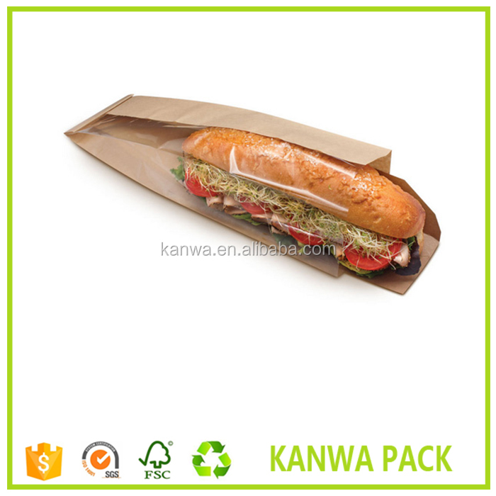 Custom Printed Brown Kraft Sandwich Bag With Window and PE Coated