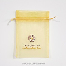 cheap custom printed organza bags with logo ribbon