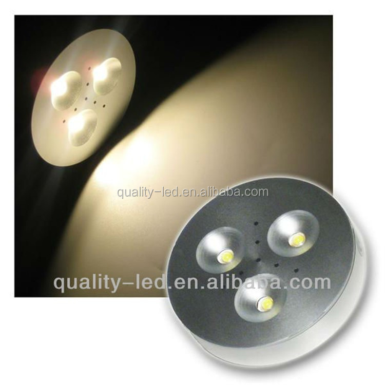 UL approved LED 3W LED Kitchen Cabinet Light LED Aluminum puck lamps White/ Black /Silver finish