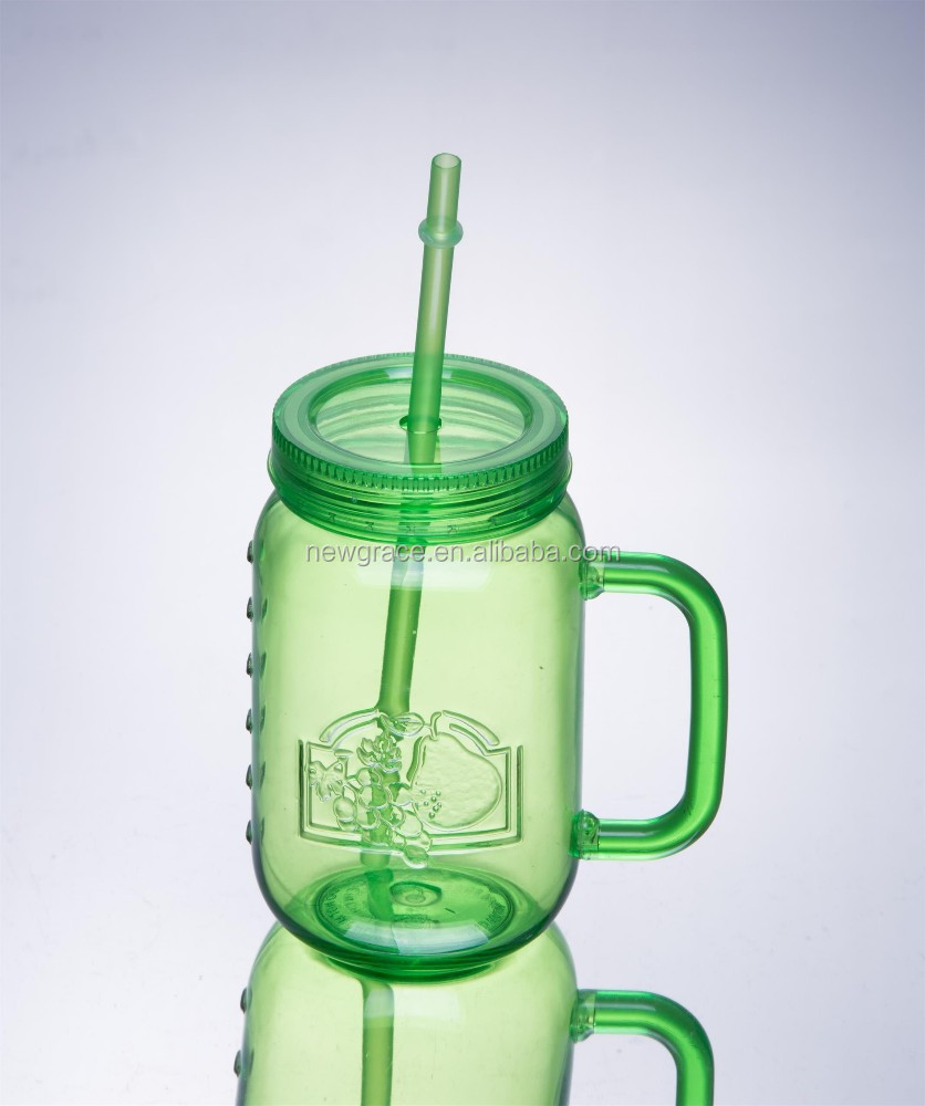 500ml plastic drinking bottle handle and lid 16oz mason jar with straw and lids