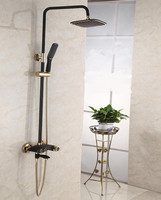 bathroom wall mounted solid brass shower column rainfall shower faucet set