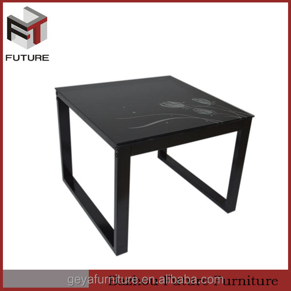 tempered glass square black rectangle side table