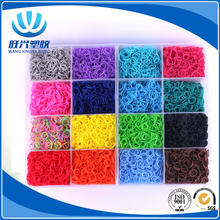 Hot Selling Box Packed Fun Round Rainbow Name Rubber loop Loom Rubber Bands and Bracelet