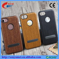 shockproof cover stand holder wood case for iphone 7 7plus