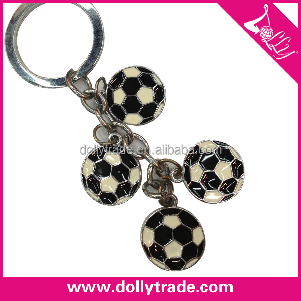 Custom design metal world cup 4pcs engraved football keychains