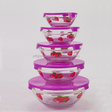 Freshness preservation food container hot sale round bottom shape dinner 5 pcs glass bowl set with lids