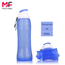 2016 New arrive colorful outdoor sports foldable bpa free silicone plastic bottle 500ml