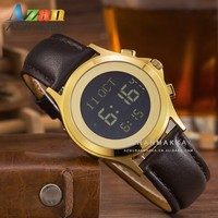 Stainless Steel Case Leather Strap Digital Azan Watch with Qibla Direction