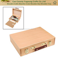 Fashion Top Handle Portable Wooden Arts/ Crafts Supplies Storage Organizer /Artist Carrying Case Box
